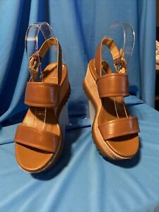 MICHAEL KORS BROWN Leather Shoes Gillian Platform Wedge Open Toe Sandal sz6_1054
