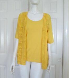 Talbots Size XL Yellow Cotton Blend Short Sleeve Sweater Set