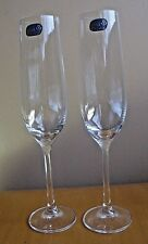 Bohemia Lead Crystal Elegant Narrow Optic Champagne Flute LOT 2  NEW Old Stock