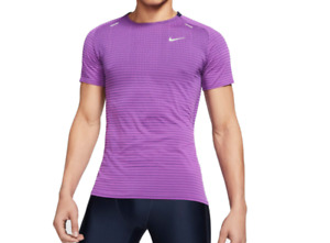 Nike Running Tee Mens Authentic TechKnit Short Sleeve Run Reflective Purple Slim