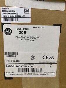 Factory New Allen-Bradley PowerFlex 700 VFD 20BD014A0AYNAND0  10Hp