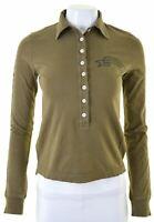 DSQUARED2 Womens Polo Shirt Long Sleeve Size 10 Small Khaki Cotton  BE03
