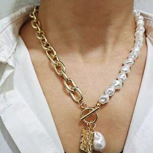 Vintage Baroque Imitation Pearl Chain Necklace Pendant Gold