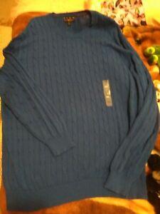 club room royal blue pima cotton crew neck sweater xxl