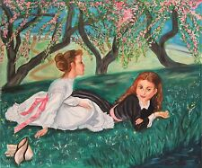 Original Oil Painting women reclined on grass on spring day. Margie Russomanno