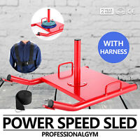 Double Sided Power Sled Drag W/ Harness Core Speed Weight Running Exercise Gym
