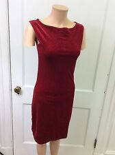 CURRANTS Red Velvet Holiday Dress Silver Sparkly Sleeveless Women's Small