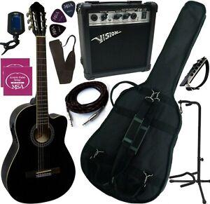 PACK Guitare Électro-Classique Noire Ampli 15W 10 Accessoires