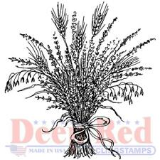 Deep Red Rubber Cling Stamps - Wheat Grass, Harvest, Flowers