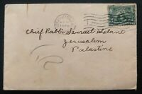 1907 Los Angeles CA USA Cover To Jerusalem Palestine Rabbi Samuel Solant