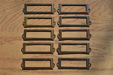10 antiqued brass file cabinet label holder name plan chest map drawer LH1