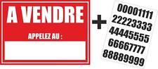 Autocollant sticker maison appartement a vendre + planche numero telephone