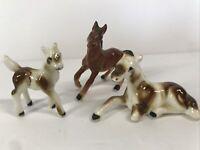 Vtg Miniature HORSE Figurine Family Set Lot 3 Pinto Bone China Ceramic Foal Cute