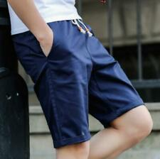 100 % Cotton Mens Casual Baggy Shorts Pockets Cargo Half Pant Trousers US L Blue