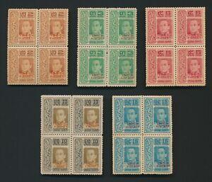 THIALAND SIAM STAMPS 1918 Sc #176/80 VICTORY VAJIRAVUDH BLSx5 TO 15 SATANG MNH