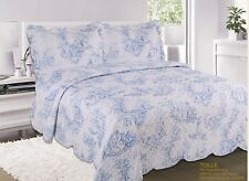 Vintage Toile Shabby Chic Quilted Bedspread Set With Pillow Shams Size 229x254cm