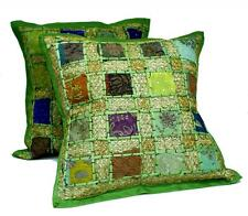 10 Green Embroidery Sequin Patchwork Indian Pillow Cushion Covers Wholesale Lot
