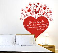 00550 Wall stickers Adesivi murali Love Cuore fiori e riccioli 60x66 cm
