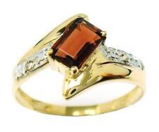 SYJEWELRYEMPIRE NEW 10KT YELLOW GOLD NATURAL GARNET & DIAMOND RING SIZE 7 R988