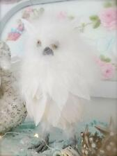 Shabby French Provincial Chic Table Centerpiece White Feather Christmas Owl New