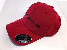 Porsche Baseball Golf Cap Hat Red w  Black Porsche Script Logo Flexfit ff3bbe37516e