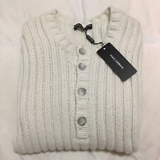 $2345 DOLCE & GABBANA 100% Cashmere Thick Henley Sweater Pullover Ivory IT48 S/M