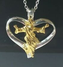 SILVER & GOLD CRUCIFIX IN A HEART NECKLACE AND PENDANT
