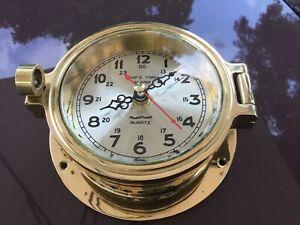 PLASTIMO Nautical Brass Boat Port Hole Ship's Clock vintageQuartz  STUNNING