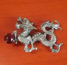 Playful Silver Dragon Motif Brooch /  Pin  Accent a Grant as a Ball