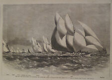 YACHT RACE FOR THE QUEENS CUP ENGRAVING HARPER'S WEEKLY 1870