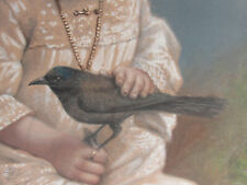 Gothic Victorian Edwardian Girl &Birds Pastel Portrait Painting Original Antique