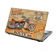 "TaylorHe Laptop Skin 13-14"" Vinyl Sticker Decal Cover Vintage Route 66 Map"