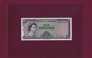 JAMAICA 10 Shillings 1964 P-51 AUNC RARE