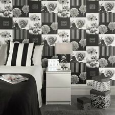 Coco Black and White Collage Wallpaper Modern Floral Blocks Design M1342
