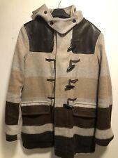 Men's Rag & Bone Brown Hooded Leather/Wool Parka/Jacket/Coat- Size L/XL (42)
