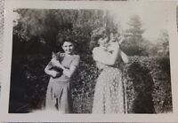 Vintage 1940's Photo of Boy and Girl Siblings Each Holding Kitty CATS Names