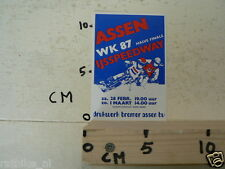 STICKER,DECAL ASSEN IJSSPEEDWAY HALVE FINALE WK 1987 HOLLAND,NOT 100 % OK