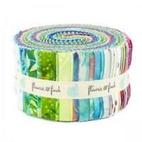 "Blossom Batiks Cascade Flaurie Finch RJR Fabric 40 2.5"" Pixie Strips Jelly Roll"