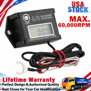 Digital Tiny Tachometer Tach Hour Gauge Meter Job Timer Resettable Waterproof