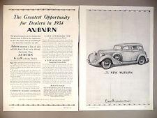 Auburn Motor Car 2-Page PRINT AD - 1934