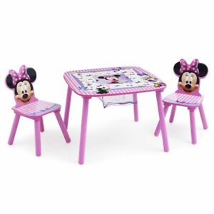Minnie Mouse wood table and chairs Disney Delta children NEW storage bin table