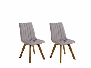 Set of 2 Fabric Dining Chairs Taupe Polyester Solid Wood Dark Tone Legs Calgary