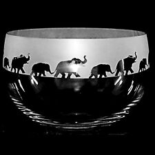 *ANIMAL GIFT*  22cm Boxed CRYSTAL GLASS BOWL with engraved ELEPHANT Frieze