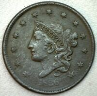 1836 Coronet Head US Large One Cent Coin 1c US Coin VF Very Fine Large Cent