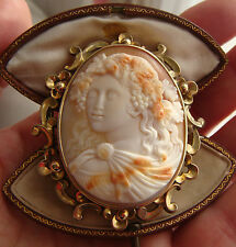 Antique Victorian Shell Cameo & Gold Brooch of Bacchante