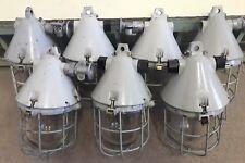 7 Stk. alte EOW Lampe 7 x Gitterlampe Bunkerlampe Industrielampe Exlampe grau