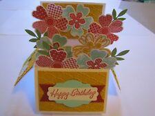 Happy Birthday Flower Garden pop up box Handmade Card Kit w/some stampin up