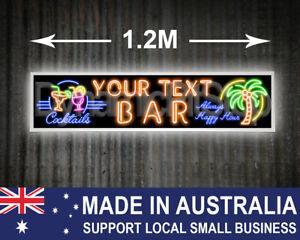 Large Illuminated Neon Style Custom Bar Sign, Tropical, Tiki, man cave, Cocktail