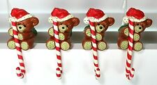 Vintage Christmas Bear Stocking Holders Set Of Four