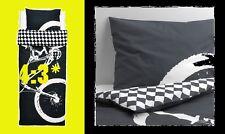 IKEA Lackert BMX Bike RACE Twin Duvet Cover/Pillowcase Black LÄCKERT Gray Check